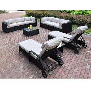 Two-Tone Resin Wicker Outdoor Lounge Set