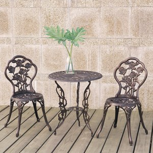 Three Piece Metal Bistro Set with Floral Motif