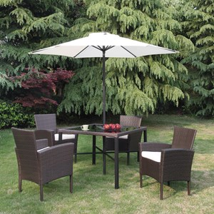 Six Piece Outdoor Dining Set with Umbrella
