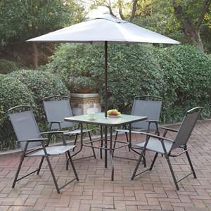 Six Piece Outdoor Dining Set with Umbrella