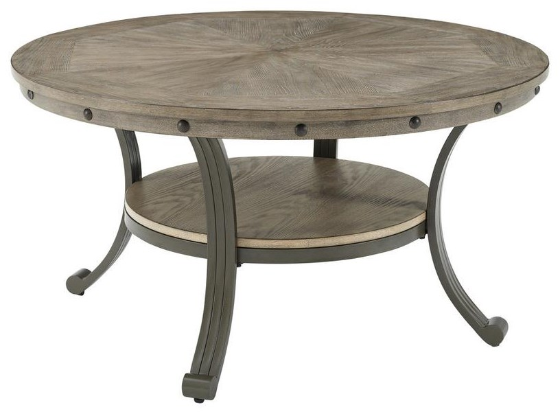 19D202 FRANKLIN PEWTER Round Cocktail Table by Powell at Furniture Fair - North Carolina