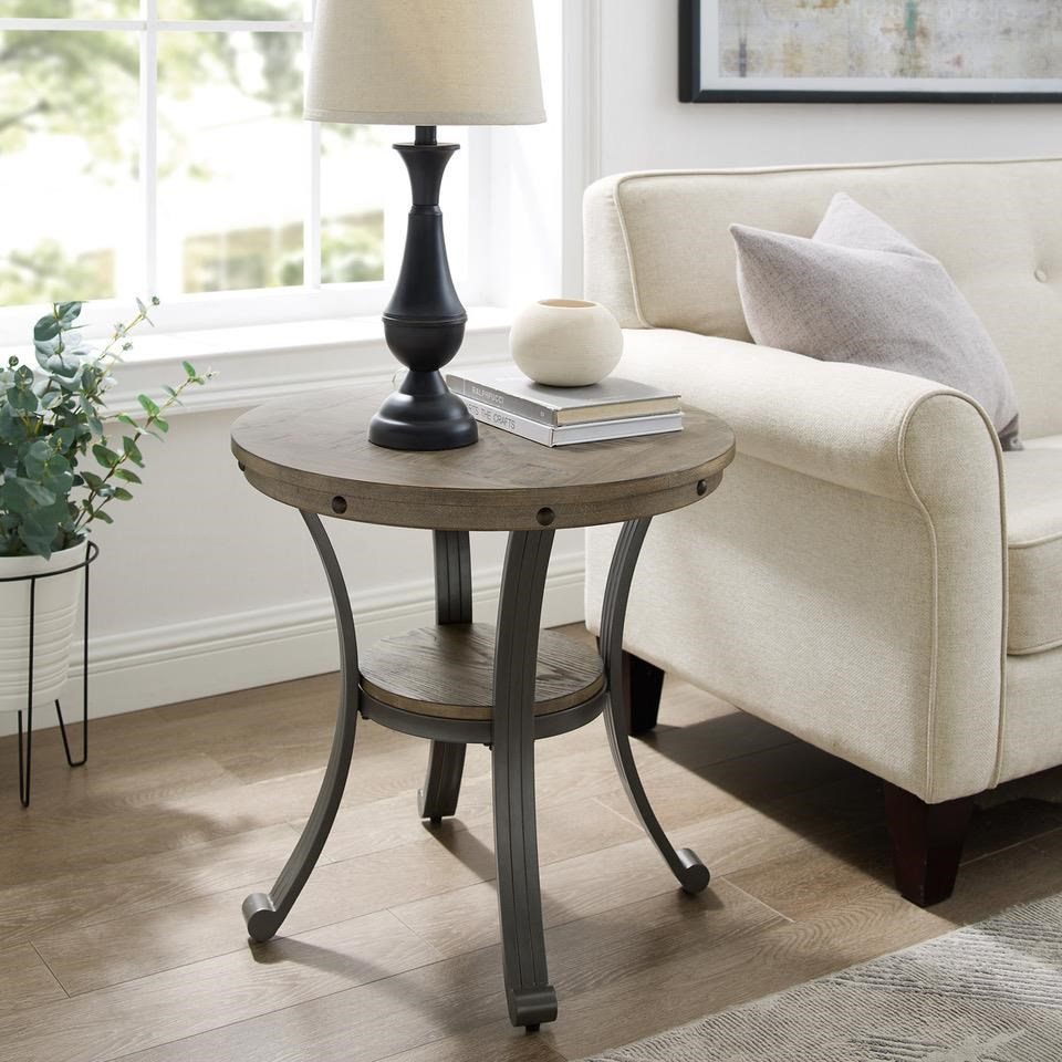 19D202 FRANKLIN PEWTER Round End Table by Powell at Furniture Fair - North Carolina