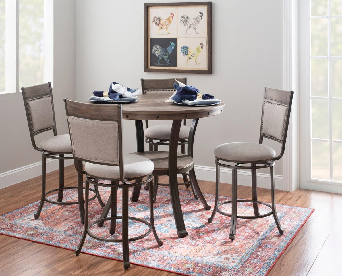 19D202 FRANKLIN PEWTER Pub Table x 3 Stools by Powell at Furniture Fair - North Carolina