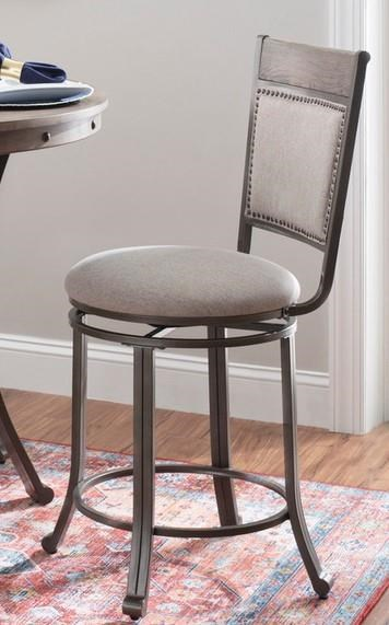 19D202 FRANKLIN PEWTER Pewter Swivel Bar Stool by Powell at Furniture Fair - North Carolina