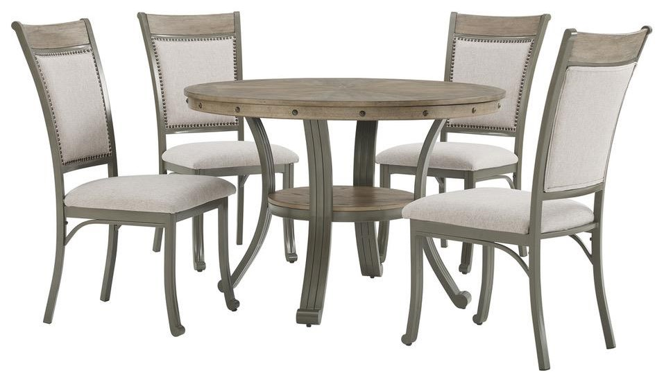 19D202 FRANKLIN PEWTER Table x 4 Chairs - Pewter by Powell at Furniture Fair - North Carolina