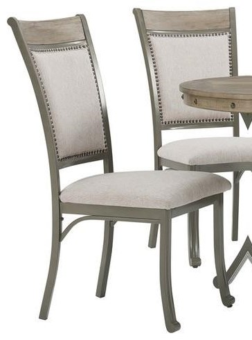 19D202 FRANKLIN PEWTER Pewter Side Chair by Powell at Furniture Fair - North Carolina