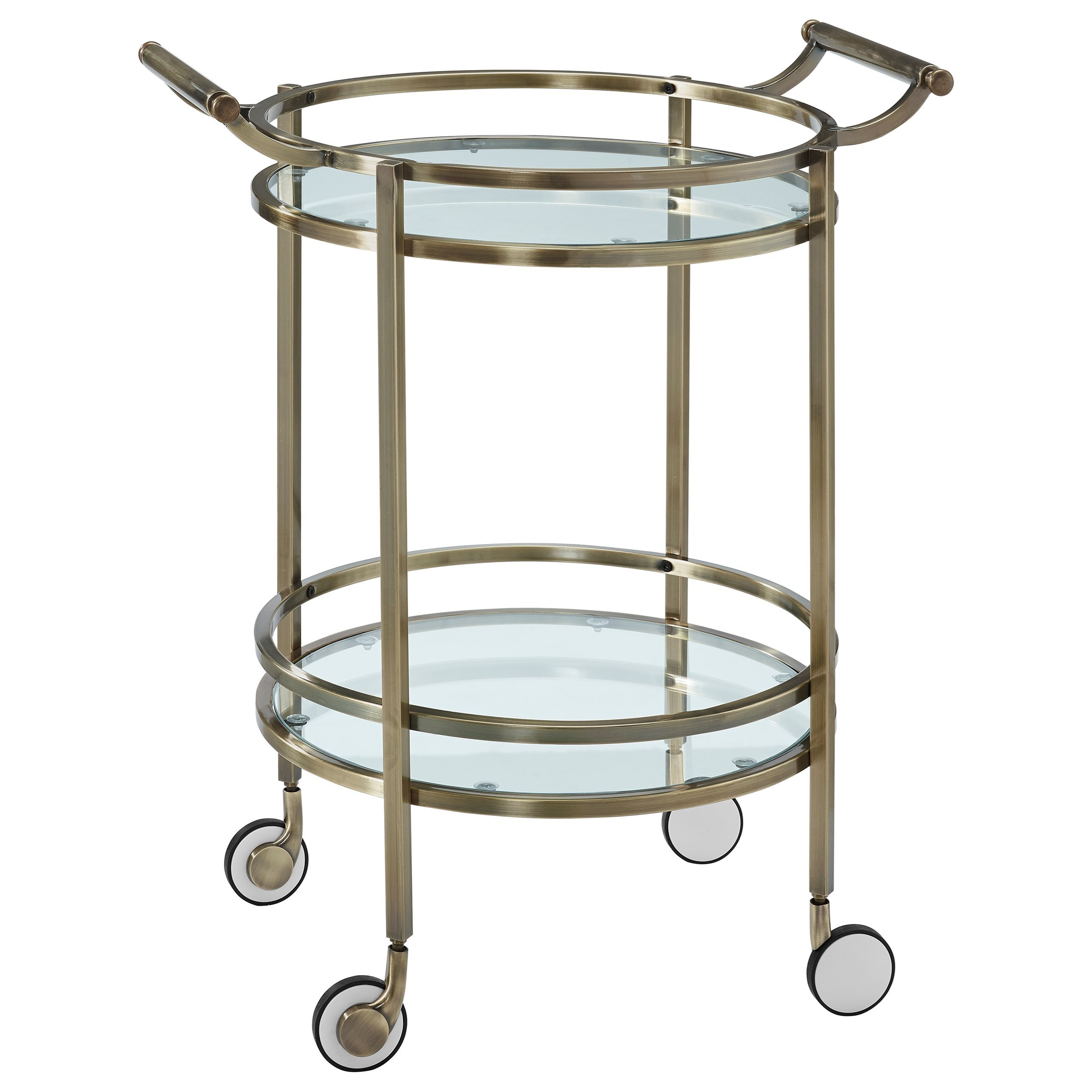 Accent Furniture Antique Brass Round Svc Cart by Powell at Nassau Furniture and Mattress