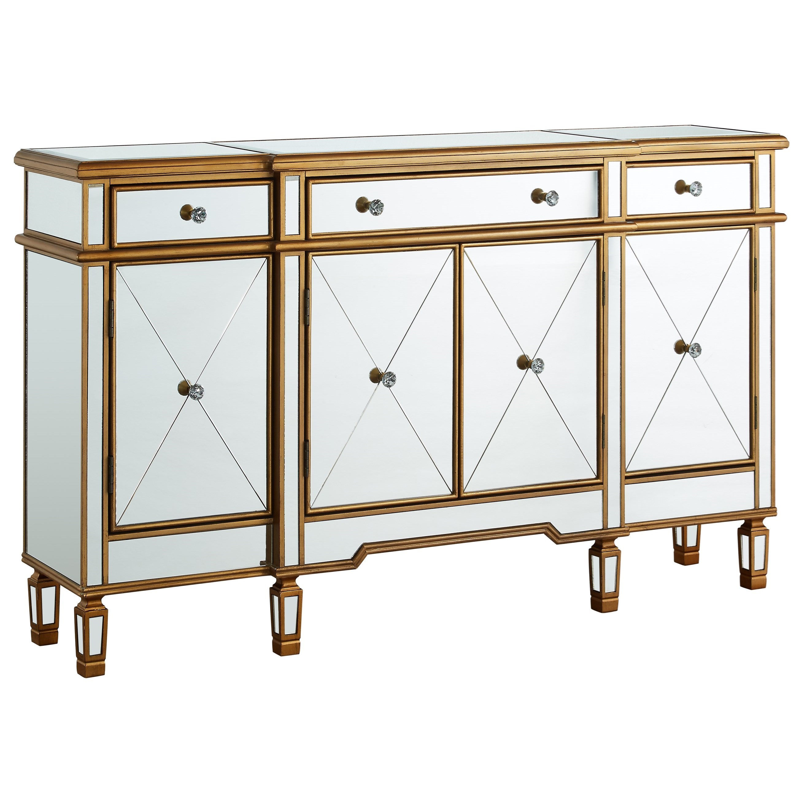 Gold and Mirrored Console 3-Drawers 4-Doors