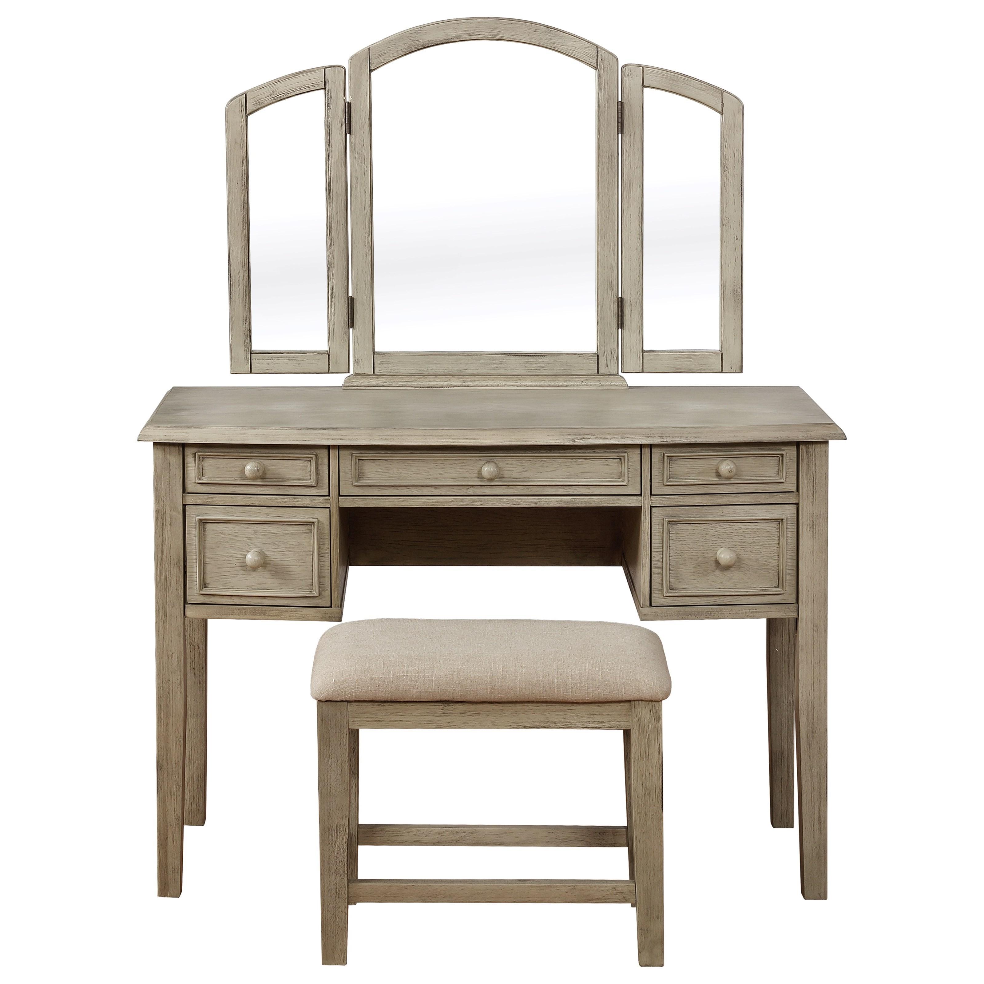Kara Kara Vanity and Stool by Powell at Lynn's Furniture & Mattress