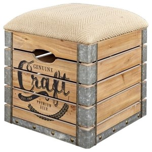 Rustic Storage Crate with Upholstered Seat