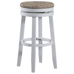Casual Bar Stool with Natural Sea Grass Swivel Seat