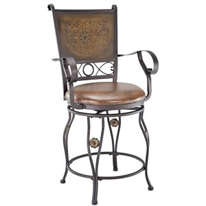 Powell Big and Tall Copper Stamped Back Counter Stool