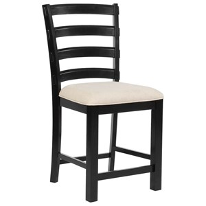 Casual Counter Height Stool with Upholstered Seat and Ladder Back