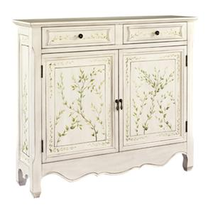 Powell Consoles  White Hand Painted 2-Door Console