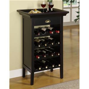 Powell Contemporary Black Wine Cabinet