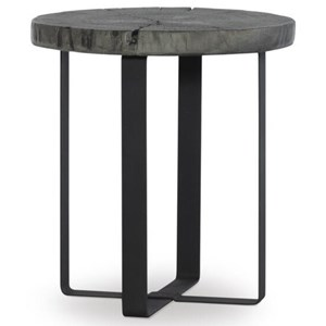 Modern Rustic End Table with Metal Legs