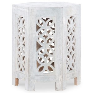 Duvall Hexagon Side Table Distressed White
