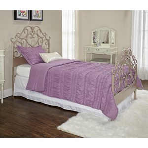 Glam Twin Bed with Rose Gold Metal Frame
