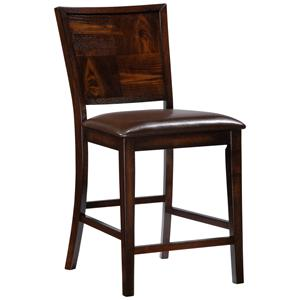 Flynn Counter Stool with Brown Faux Leather Seat
