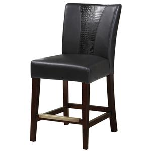 Black Faux Leather Parsons Counter Stool with Accent Band