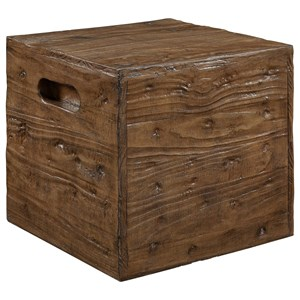 Rustic Crate End Table with Side Handles
