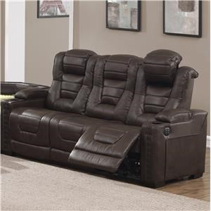 Power Reclining Sofa with Built-In USB/Outlets