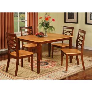 Two Tone Rectangle Table with 4 X-Back Side Chairs
