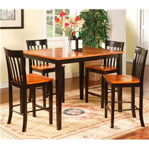 Two Tone Black & Cherry Pub Table with 4 Chairs