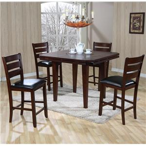 Gathering Height Drop Leaf Table with 4 Upholstered Seat Chairs