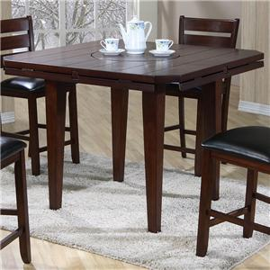 Drop Leaf Gathering Height Table with Rotating Centerpiece