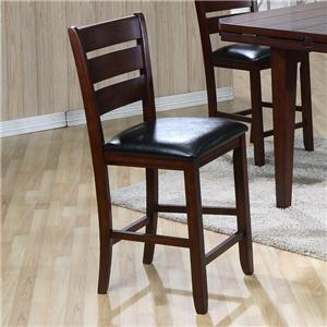 Ladderback Pub Height Chair with Upholstered Leather Seat