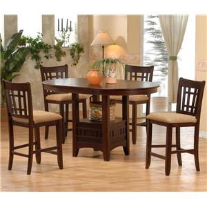 Counter Height Table with Upholstered Pub Height Chairs