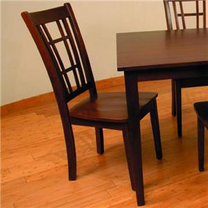 Slat Back Dining Side Chair with Countoured Seats