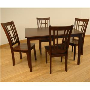 Rectangular Dining Leg Table and 4 Side Chairs