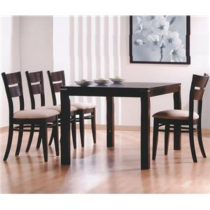 Rectangular Dining Leg Table and 4 Side Chairs With Fabric Upholstered Seats