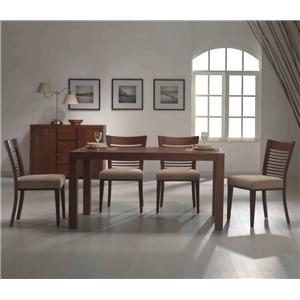 Rectangle Square Leg Table & 4 Upholstered Side Chair Set