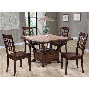 Tile Top Table with Storage Base & 4 Ladder Back Chairs