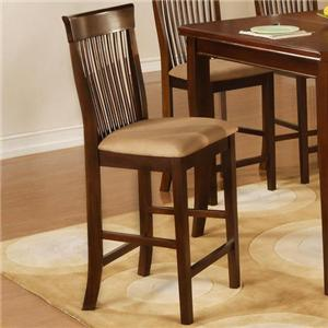 Slat Back Counter Stools with Upholstered Seats
