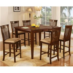 7 Piece Pub Table & Slat Back Stool Set
