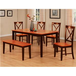Dining Table, Bench & X Back Chair Set