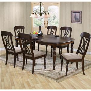 Rectangular Dining Table and Chair Set with Turned Legs