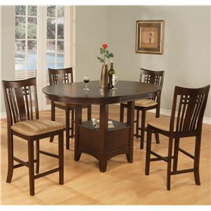 Counter Dining Pedestal Table With Storage and 4 Bar Stools