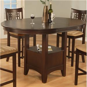 Casual Pedestal Counter Dining Table With Storage