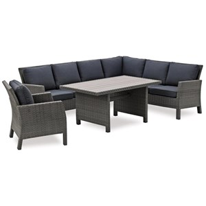 Outdoor Sectional, Chair, and Table Set
