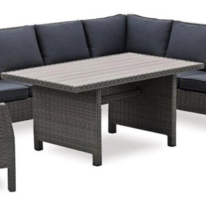 Wicker and Aluminum Outdoor Dining Table with Polywood Top