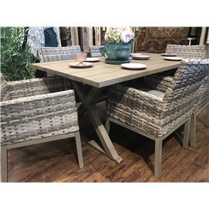 Aluminum Slat Top Trestle Dining Table