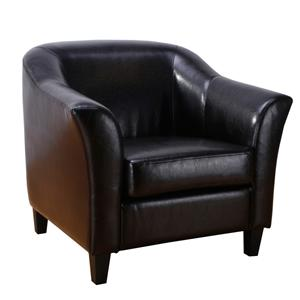 Contemporary Faux Leather Tub Chair with Exposed Legs