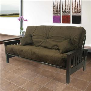 Decorative Fremont Futon with Tufted Cushions and Slanted Wood Arms