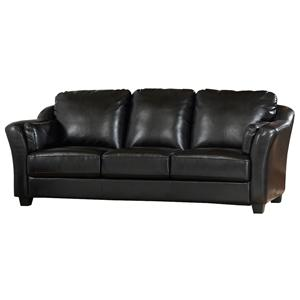 Casual Upholstered Stationary Leather Sofa