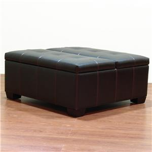Tufted Leather Ottoman With Storage